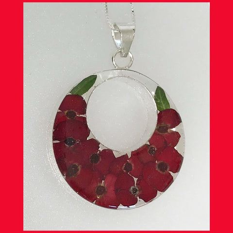 Miniature Real Poppy Pendant with Sterling Silver Findings
