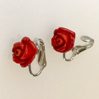 Red Rose Coral Clip on Earrings