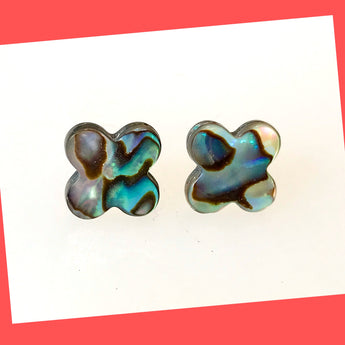 Clover Shaped Abalone Earring Studs