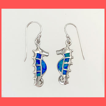 Opal Seahorse Earrings