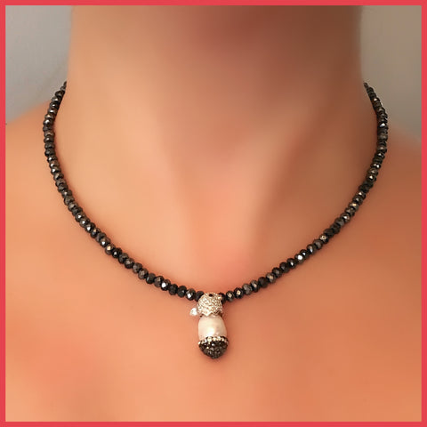 Keshi Pearl and Grey Glass Crystal Necklace