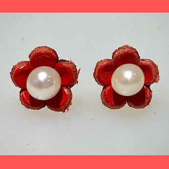 Red Daisy Earring Studs