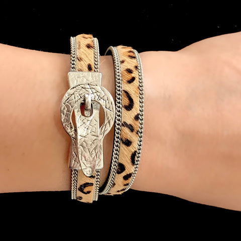 Leopard Print Hair on Leather Bracelet