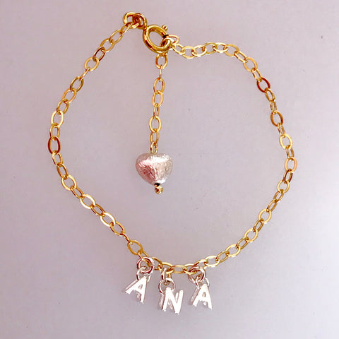 Sterling Silver Letters on Gold Chain Name Bracelet
