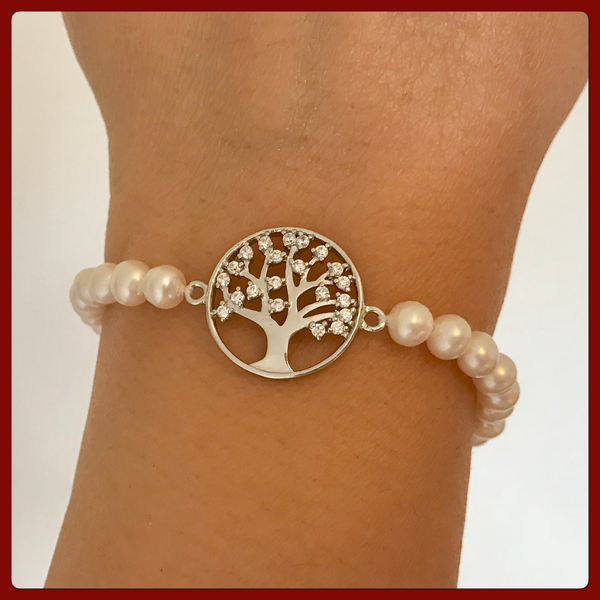 Sterling Silver Tree of Life Bracelet with Freshwater Pearl