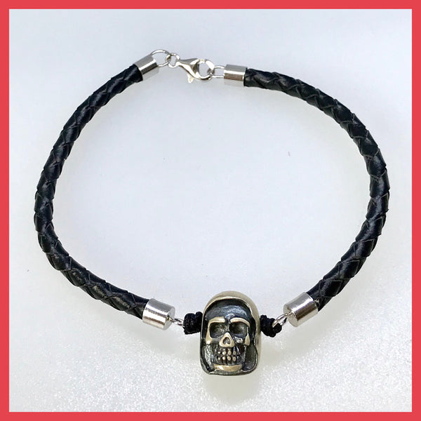 Silver Veiled Skull Bracelet with Leather Band