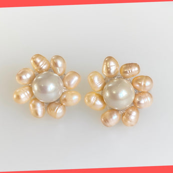 Daisy Earring Studs with Freshwater Pearls