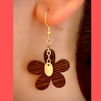Wooden Flower with Gold-plated Silver Charm Earrings