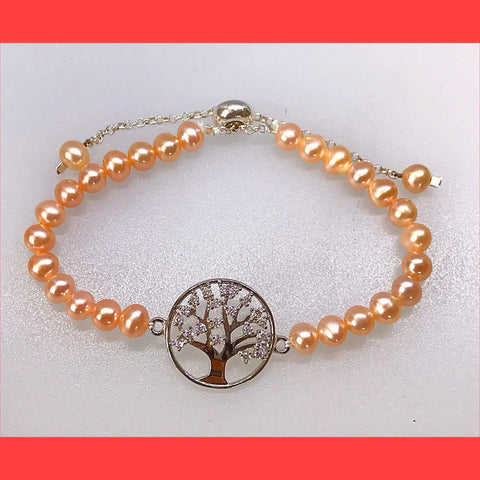 Tree of Life and Pink Pearl Bracelet