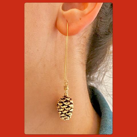 Gold pine Cone Ear Threaders