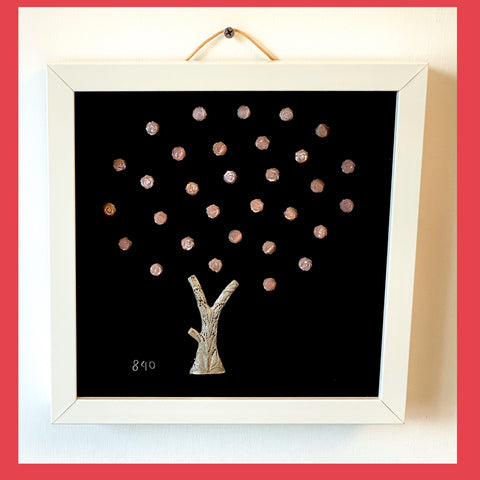 Silver Tree with Shell Flowers in Frame
