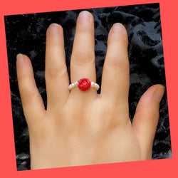 Beaded Freshwater Pearl-coral Ring