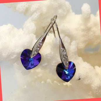 Swarovski Blue Heart Earrings