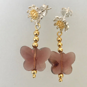 Pink Butterfly with the Flower Shaped Earrings Studs