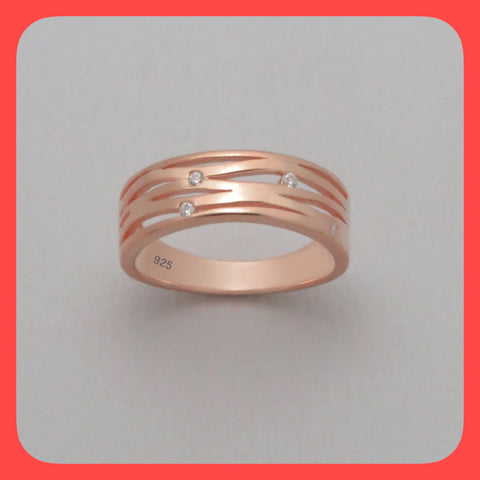 rings; Rose gold multi slit