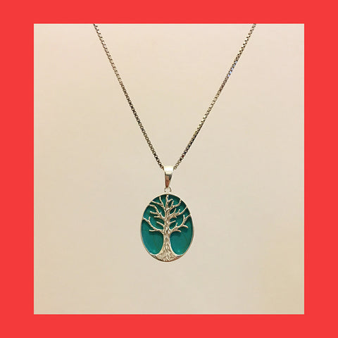 Pendants; Oval Tree of Life with Blue Resin