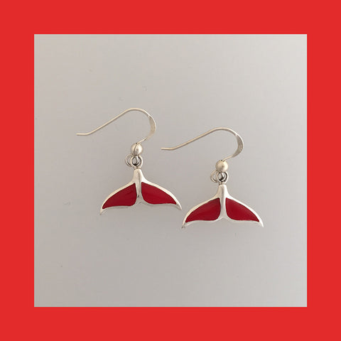 Earrings; Whale Tail with Red Resin