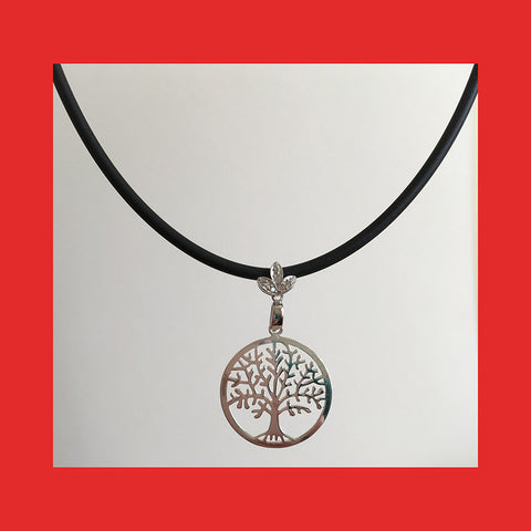 Necklaces; Tree of Life with Black Braided Leather band
