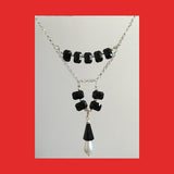 Necklaces; Black Swarovski Crystals with Drop Pearl