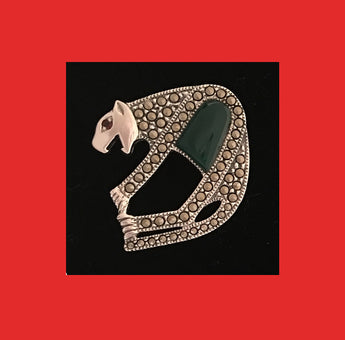 Brooches; Marcasite Leopard