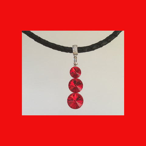 Drop 3 Swarovski Crystals Necklace with Leather Chain