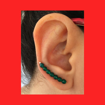 Earring; Green agate Ear Climber