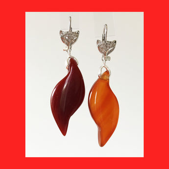 Earrings; Fox and Agate