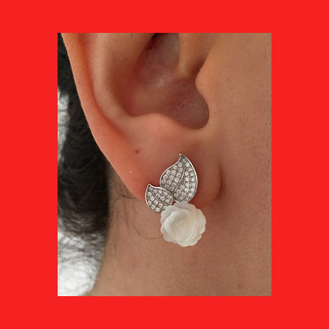 Earrings; Rose Shaped Mother of Pearl on Leaves Stud