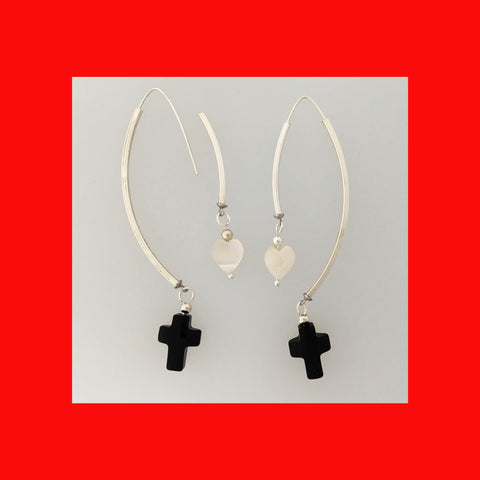 Earrings; Swarovski Cross on Wishbone