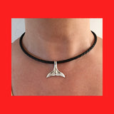 Necklaces; Whale Tail on Black Braided Leather Band