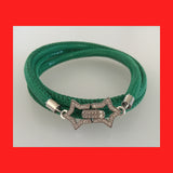 Bracelets; Green Leather Bracelet with Sterling Silver Clasp
