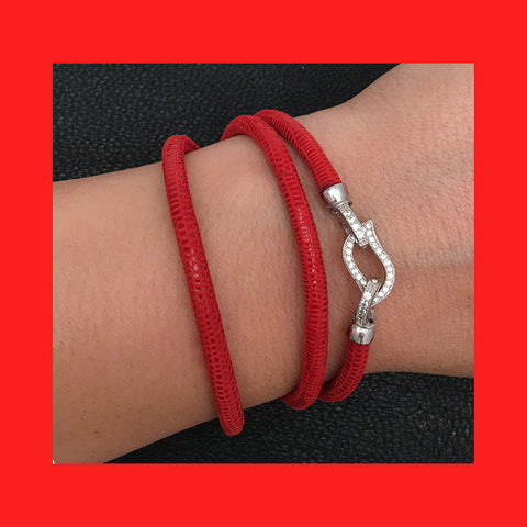 Bracelets; Red Leather Bracelet with Sterling Silver Clasp