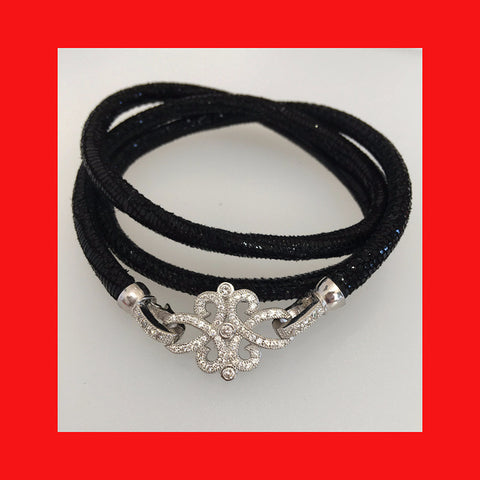 Bracelets; Black Leather Bracelet with Sterling Silver Clasp