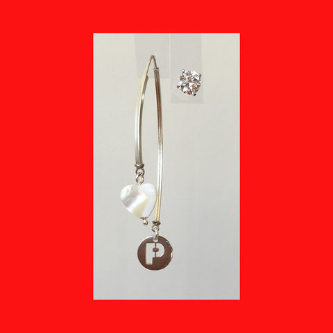 Earrings; Sterling Silver Letter and Heart on Wishbone Earrings