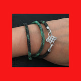 Bracelets; Green Snake Leather Bracelet with Sterling Silver Clasp