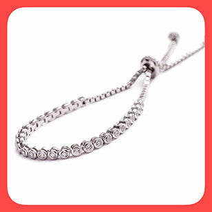Bracelets; Sterling silver and Cubic zirconia tennis