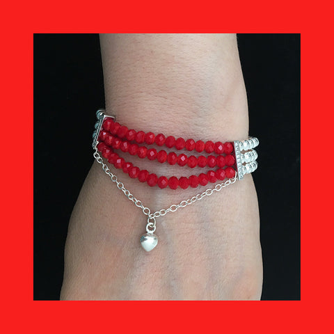 Bracelets; Red Crystals and Silver Balls