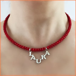 Sterling Silver Name Necklace with Coral Beads
