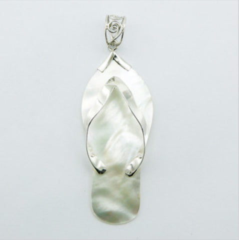 Pendants; Mother Of Pearl Slipper Pendant Set In Sterling Silver Ajoure Bail