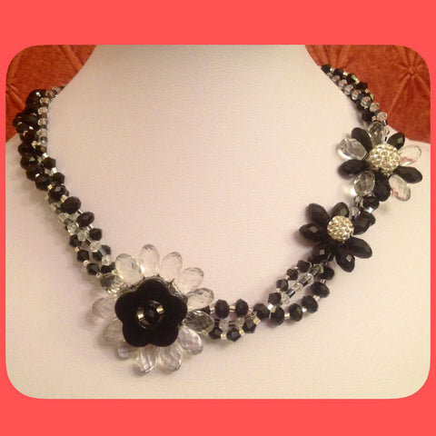 Necklace, Black and clear crystals