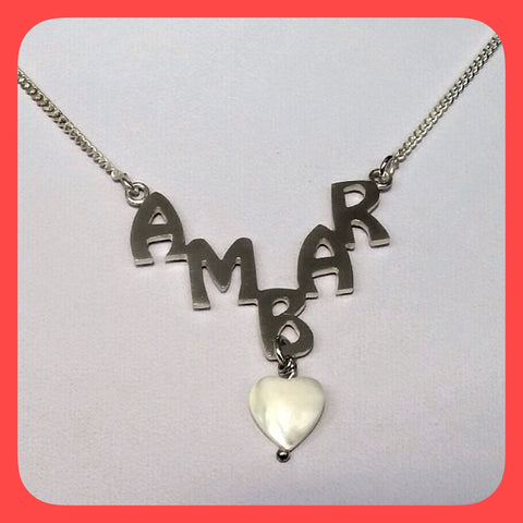 Necklace; Personalised sterling silver nameplate