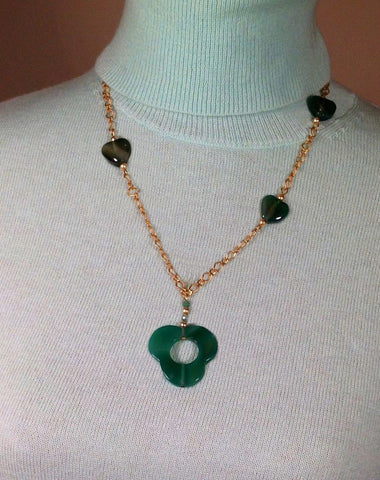 Necklaces; Flower and heart shaped green Agate