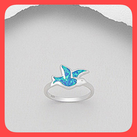 Rings; bird shaped Opal