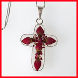 Cross Pendant with Real Rose Flowers