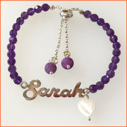Namebracelet with Amethyst GemStone