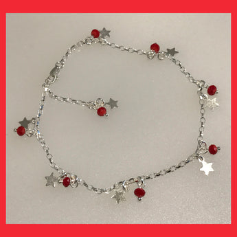 Stars and Red Crystals Anklet