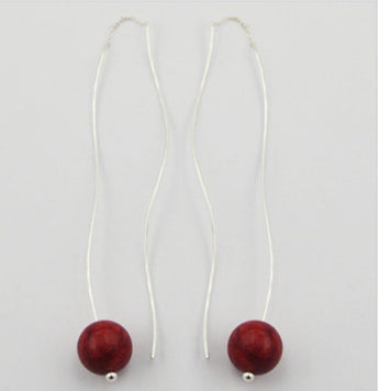 Sterling silver and Coral earrings threaders