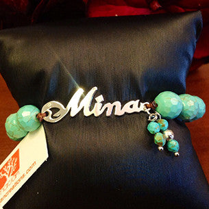 Bracelets; Personalised nameplates with Turquoise