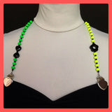 Top straps, green and yellow neon beads