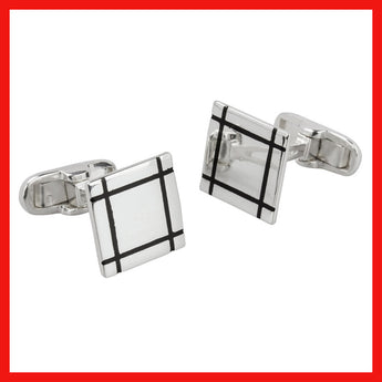 Cufflinks; Black square lines